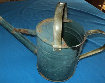 Primitive Vintage Blue, Rusty Decorating Piece, Watering Can