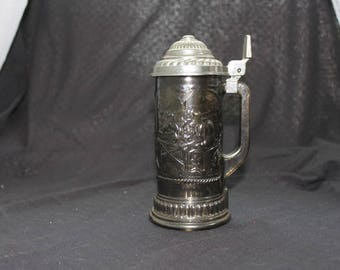 Avon Tinted Glass Etched Forest Scene Beer Stein