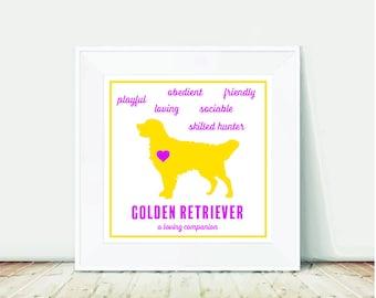 Golden Retriever, Golden Retriever Print, Golden Retriever Art, Dog Print, Dog Art, Dogs, Digital Download, Square Print, Print at Home