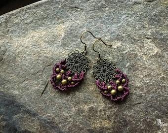 Small Mandala Macrame earrings boho bohemian yoga gypsy knotted micromacrame