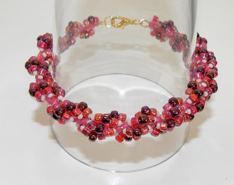Beaded Spiral Loop Bracelet in red, pink and white