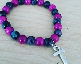 Beaded Ankh charm bracelet