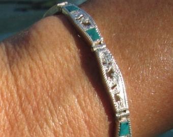 Peruvian Malachite and Sterling Silver Storytelling Link Bracelet