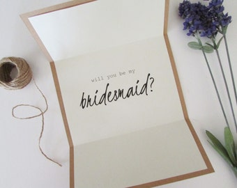 """Will You Be My Bridesmaid Card   Personalized Bridesmaid Card   Tri-Folded 5""""x7"""" Card & Envelope   Bridesmaid Invitation"""