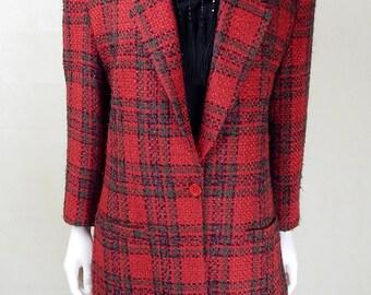 Original 1980s Vintage Diane Von Furstenberg Red Wool Coat UK Size 12/14