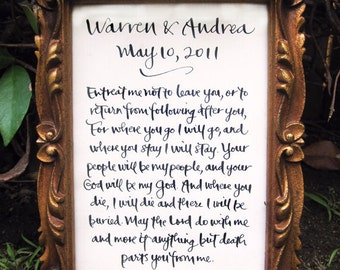 """Handwritten Calligraphy for Wedding Vows, Baby Name, Poem, Quote, Song 5"""" x 7"""""""