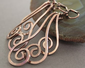 Long chandelier swirly waves copper earrings - Boho earrings - Chandelier earrings - Metal earrings - Dangle earrings - ER080