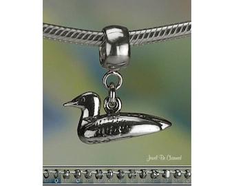Sterling Silver Loon Charm or European Style Charm Bracelet .925 Bird