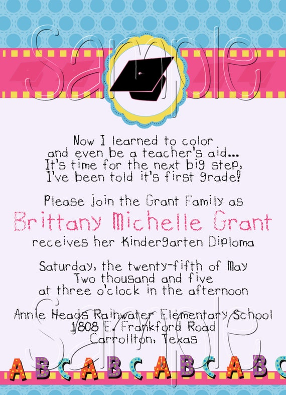 25 5x7 Girls Preschool Kindergarten Graduation Invitations
