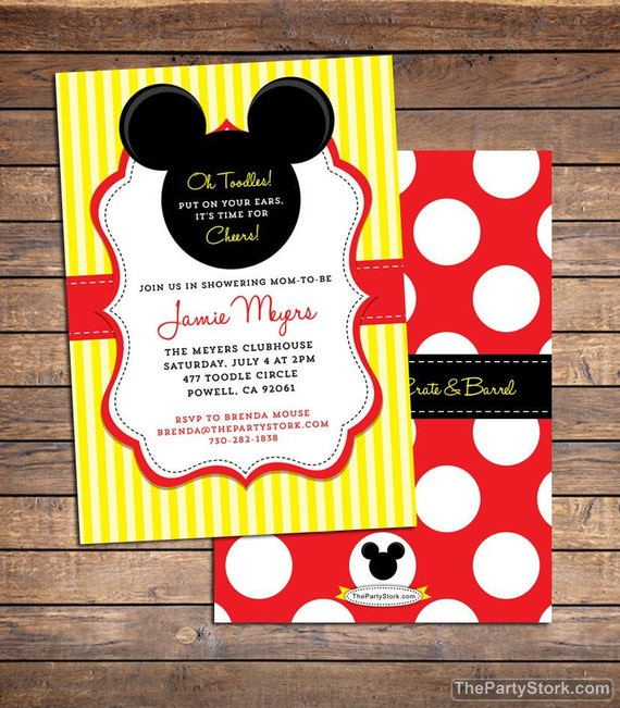 Sweet image within mickey mouse baby shower invitations printable