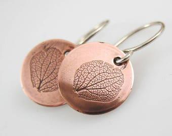 Hydrangea Earrings, Copper or Brass, Botanical Jewelry