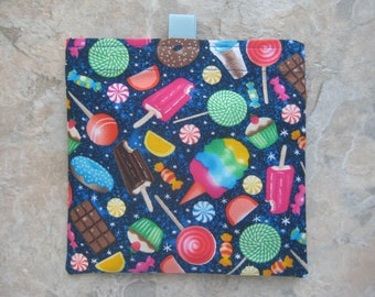 Sweet Treats Reusable Sandwich Bag, Reusable Snack Bag, Eco Friendly Snack Bag, Washable Treat Bag with easy open tabs