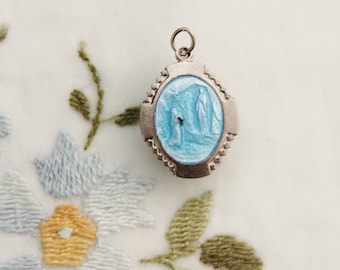 Vintage Our Lady of Lourdes and St. Bernadette Medal with Blue Enamel