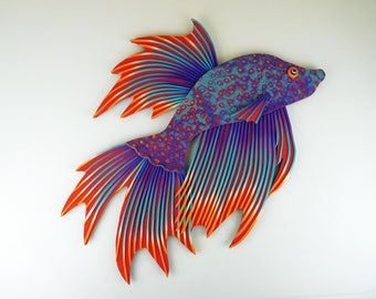 Custom Polymer Clay Clock or Wall Art -- This is a Whimsical Animal Clock. Any Fish Lover Will Love This Handmade Betta Fish Clock Gift.