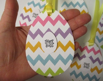 6 LARGE Chevron Happy Easter Egg Tags-Easter Tags-Easter Decor