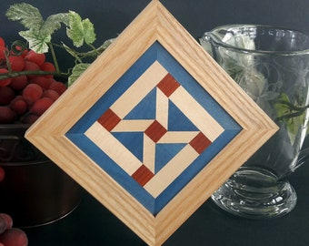 Framed Wood Wall Art, Diagonal Picture Frame, Ship Wheel Quilt Block, Red White and Blue Geometric  Hanging