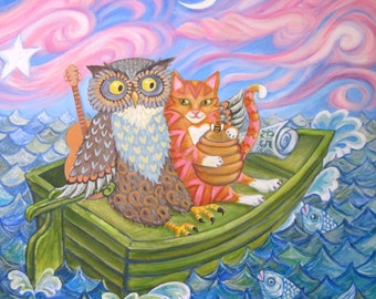 "Valentines Greetings Card: ""The Owl And The Pussycat"" from an original acrylic painting. By Laura Robertson"