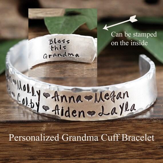 Personalized Grandma Cuff Bracelet, Name Bracelet, Custom Bracelet For Grandma, Kids Name Jewelry, Mothers Day Bracelet, Grandma Jewelry