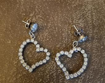 Vintage Rhinestone Heart Earrings Pierced Post Dangle, Pin-up Hollywood Glamour