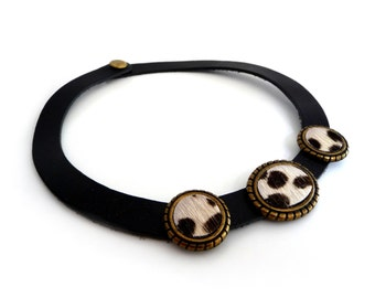 Vintage Black Leather Necklace Choker with Cowhide Leather on Brass Settings