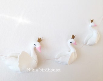 Swan garland - swan princess with a golden crown - nursery decor