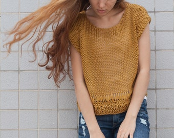 Hand knit woman cotton sweater yellow Tank loose knit cropped Tank Mustard pullover crop vest