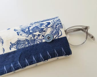 glasses case in chambray, toile, and cotton - quilted glasses case in blue fabric - patchwork accessories case