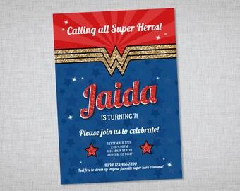 Wonder Woman Invitation, Printable Invitation, Wonder Woman Birthday Party Invite, Wonder Woman Party Invitation, Digital Girls Birthday