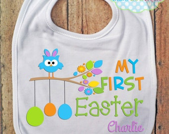 My First Easter Boy BIB - Baby - Bib and Burping - Personalized - Easter Eggs Owl