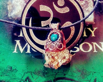 Magical stone necklace,Om protection Amulet, peruvian stone