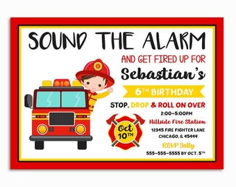 Firefighter Invitation, Fire truck Birthday Invitation, Printable Fire fighter Invitation, Fireman Birthday Party, Firefighter Party Invite