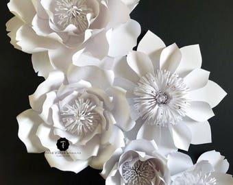 White paper flower backdrop, white flower wall, wedding backdrop, paper flower wedding, White paper flowers, Wedding decor