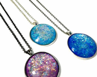 Sparkly Necklace Pendant,  Large Round Necklace,  Glitter Necklace, Nail Polish Jewelry, Gift for Her in Blue, Purple Sparkle