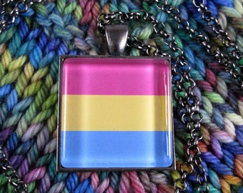 Pansexual Pride Flag Necklace - Gunmetal - Rolo Chain
