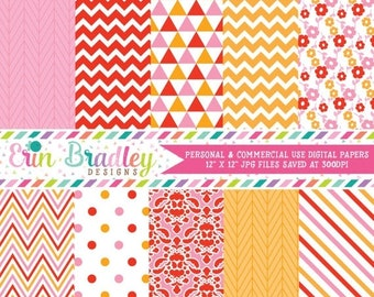 80% OFF SALE Digital Paper Pack in Pink Red & Orange with Herringbone Chevron Striped Triangle Floral Polka Dotted and Damask Patterns