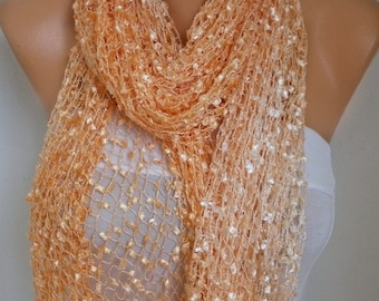 Apricot Knitted Ombre Scarf,Wedding Shawl,Graduation,Bridal Accessories,Bridesmaid Gift,Cowl, Gift Ideas For Her, Women Fashion Accessories