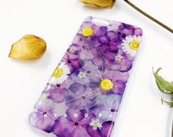 Handmade phone case/ pressed flower phone case/ preserved flower phone case/ dried flower phone case/ iphone cases/ iphone 6, 6s/ 7, 7s plus