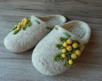 Slippers with yellow flowers Handmade slippers House shoes Felted slippers for women Feltslippers Women's Day Gift for her Wool slippers
