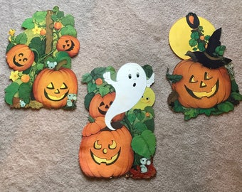 3 Vintage Halloween Decorations Die Cut - Jack-O-Lantern (JOL) Under Moon w/ Witch Hat, JOL's w/ Ghost, JOL's w/ Beanstalk