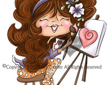 Instant Download Digital Stamp Digi Stamp Gemma Curly Girls by Dina Gerner