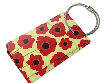 Red Poppies Flower Suitcase Bag Id Luggage Tag Set