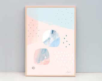 A3 Abstract Print- Abstract Modern - Tranquil, peach, pink, light blue, circles - Open Edition