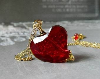 Red Heart Necklace Siam Red Crystal Heart Necklace Ruby Red Crystal Necklace Red Heart Pendant Beaded Gold Chain Valentine Gift