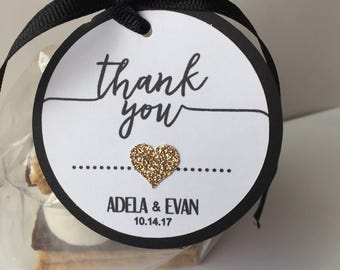 Wedding Bridal Shower Bachelorette Party Elegant Thank You Tags with Rose Gold Heart