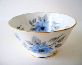 Vintage Blue Roses Sugar Bowl - Blue and White Bone China - Open Sugar Bowl - Royal Chelsea China