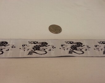 """Asian Dragon Renaissance Jacquard Ribbon Trim Metallic Silver Black White Pirate Steampunk Ribbon 1 3/8"""" Wide X 3 Yards"""