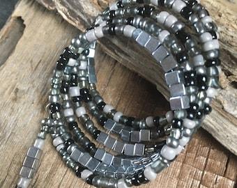 boho black silver beaded wrap bracelet, stacking bracelet, layering bracelet, black silver grey stretch bracelet, gift for her, artisan