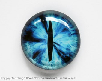 30mm handmade glass eye cabochon - blue cat or dragon eye - standard profile