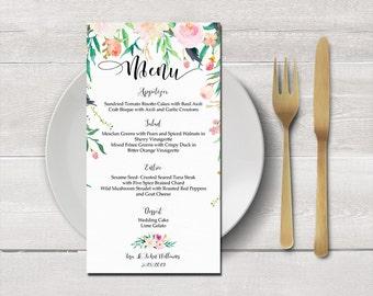 Menú tarjeta para imprimir de boda, archivos digitales, jardín romántico de la boda, menu nupcial ducha, menú de noche boda menú recepción - RGW-24