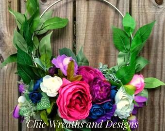 Circle of Love Bouquet / Bridal Bouquet / Bridal party Bouquet / Garden Floral Ring / Boho Floral Loop / 10' Silver Floral Loop